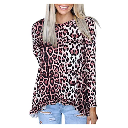 YANFANG Jersey de Cuello Alto de Manga Larga con Estampado de Leopardo para Mujer sin Capucha Talla Grande Casual