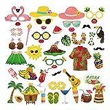 44 Uds Suministros de Fiesta Accesorios para fotomatón Divertido Hawaiano / Tropical / Tiki / Playa Verano Piscina Fiesta Despedida de Soltera decoración