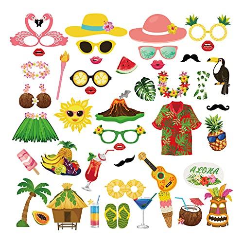 44 pz Rifornimenti Del Partito Photo Booth Puntelli Divertente Hawaiano/Tropicale/Tiki/Spiaggia Estate Piscina Party Addio Al Nubilato...