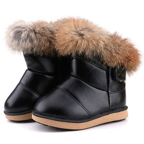 LONSOEN Toddler Girls Boots Fur Lined Winter Boots Shoes,KDB003 Black,CN27