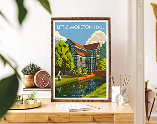 Little Moreton Hall Framed Travel Art Print, City Art Vintage Travel Poster, Housewarming Gift Art Deco Print, Modern Wall Art Travel Decor | Poster No Frame Board For Office Decor, Best Gift For Fami