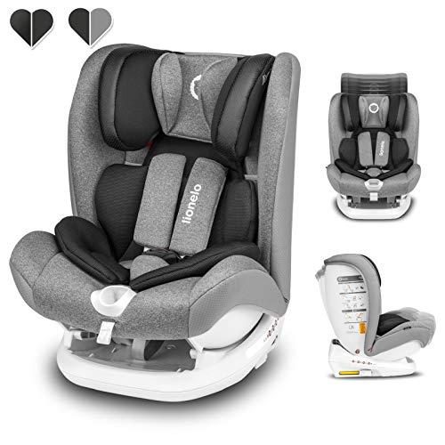 Lionelo Oliver Kindersitz 9-36kg Kindersitz Isofix Top Tether Seitenschutz 5 Punkt Gurt Rückenlehnenverstellung Kopfstützenverstellung Reduktionseinlage ECE R44 04 (Grau)