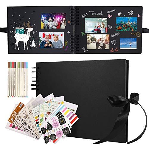 Yosemy Album Photo Scrapbooking,28*21cm Noir DIY Album à spirale 80 Pages avec 10 stylos métalliques 12 autocollants photo 2 Templates pour bébé et enfant pour anniversaire