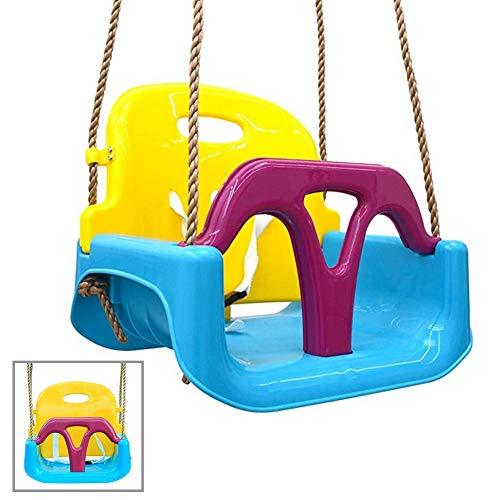WOAIM 3 En 1 Asiento De Columpio para Niños Pequeños Silla De Jardín del Bebé Ajustable De La Cuerda para Los Niños Juguetes para Niños Cumpleaños Azul Amarillo