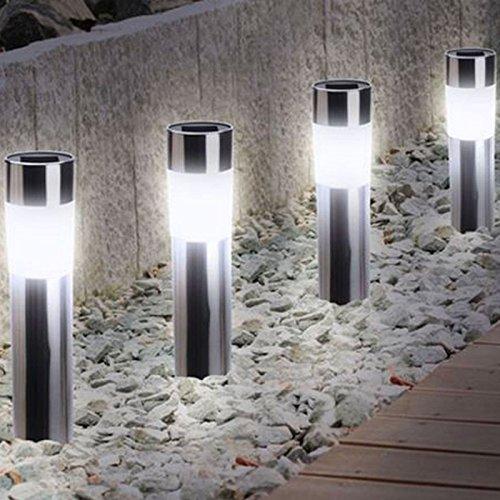 Probache – Lote de 4 balizas luminosas solares, acero inoxidable, para delimitar jardín: Amazon.es: Iluminación