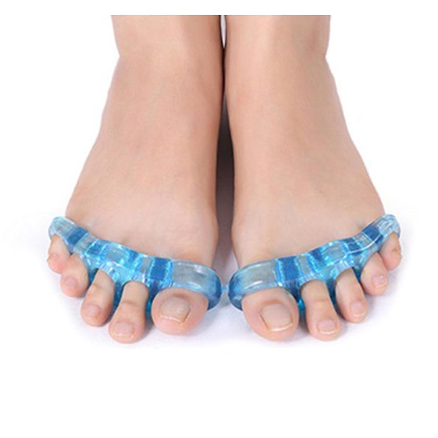 操縦する決定する教義足指ストレッチパッド 広げる 足ゆび 5本指 両足セット 足指矯正 外反母趾 つま先 (中(約11cm))
