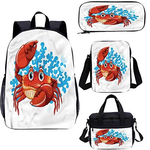 Cangrejos 15 pulgadas mochila con bolsa de almuerzo conjunto de estuche, dibujos animados azul coral arrecife 4 en 1 conjuntos de mochila