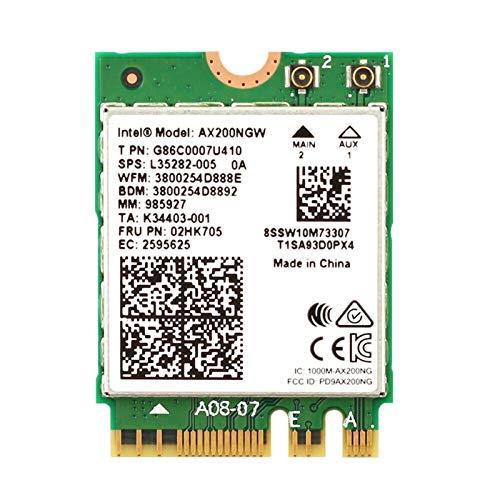 Buding AX200NGW - Tarjeta inalámbrica Wi-Fi 6 11AX módulo WiFi 2 x 2 MU-MIMO Dual Band con Bluetooth 5.0 adaptador WiFi interno, compatible con Windows 10 de 64 bits, M.2 / NGFF