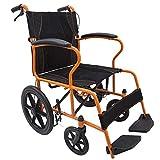LOLRGV Faltbarer Rollstuhl Stahlrohr Handbetriebene Leichte Ersatzautorollstühle Nur 12Kg Orange -