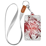 ZZAEO Abstract Halloween Scary Blood Splatters Badge Holder with Lanyard, PU Leather ID Credit Card Case for Students Workers