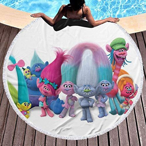Gypsophila Trolls - Toalla de playa redonda con borlas de microfibra, tamaño grande, suave, manta de picnic, alfombra de yoga, manta de playa, decoración para habitación de niños
