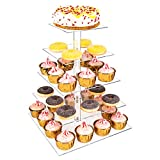 Weddingwish 5 Tier Square Cupcake Stand with Base, Acrylic Cake Stand, Cupcake Tower Stand, Premium Cupcake Holder for 60