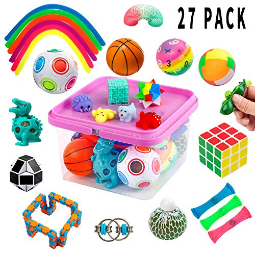 Sensory Fidget Toys Set, Fidget Sensory Toys Bundle for Kids Autism, ADHD, Adults Anxiety Stress Relief Kit with Stress Balls, Squishy, Stretchy String, Puzzle Balls Variety 27 Pack in Reusable Box