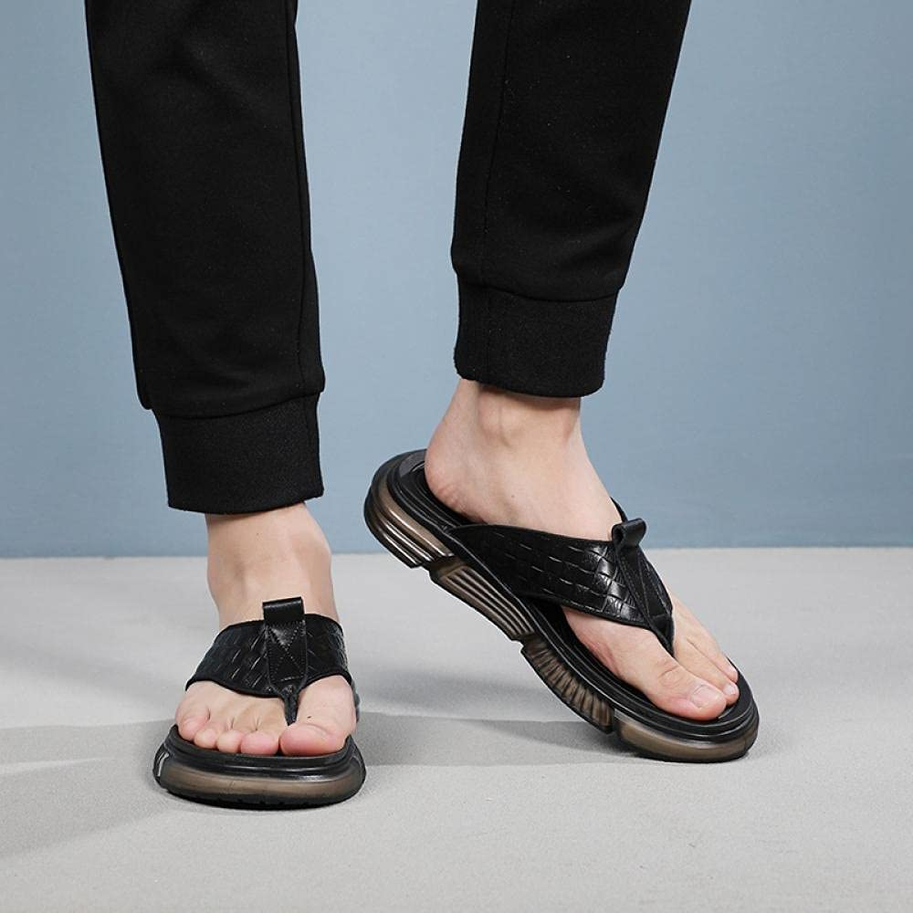 COQUI flip Flop,Slippers Men in Summer wear Leather Men's Sandals Fashion Cool Drag Soft Bottom People Flops-Black_43