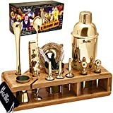 Gold 23-Piece Bartender Kit Cocktail Shaker Set by BARILLIO: Stainless Steel Bar Tools With Sleek...