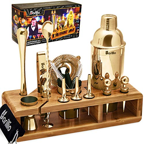Gold 23-Piece Bartender Kit Cocktail Shaker Set by BARILLIO: Stainless Steel Bar Tools With Sleek Bamboo Stand, Velvet Carry Bag & Recipes Booklet