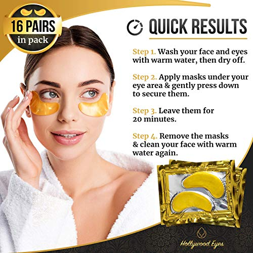 51q+5T1g+IL - Under Eye Patches, 24K Gold Collagen Eye Mask, Dark Circles and Wrinkles Treatment, Anti-aging, Gel Pads for Puffiness and Bags, Immune System Support for Eyes, With Hyaluronic Acid, Deep Moisturizing