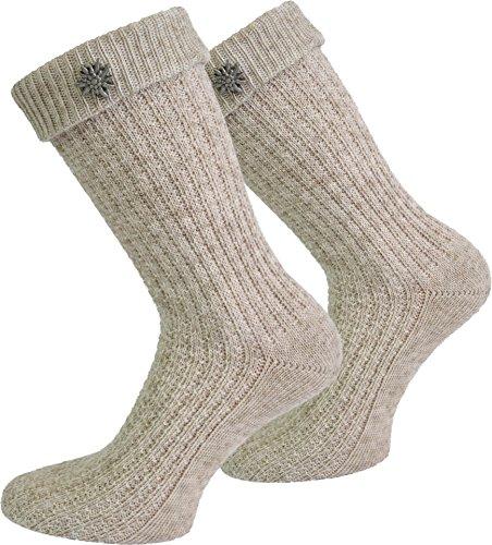Socken kurz oder Lang für Trachten Lederhose Farben frei wählbar Farbe Naturmelange mit Edelweiß-Anstecker Größe 43/46
