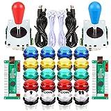 Fosiya 2 Jugadores Kit Arcade Ellipse Oval Style 8 Ways Bat Joystick + 20 Botones LED Arcade para 2 Jugadores Controladores de Videojuegos Todos Windows PC MAME Raspberry Pi 3 4 (Colores Mezclados)