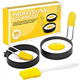 Egg Ring for Frying Eggs and English Muffin - Round Egg Shaper Mold with Anti-scald Handle - Stainless Steel Non-stick Egg Cooker Ring - 2 Pack