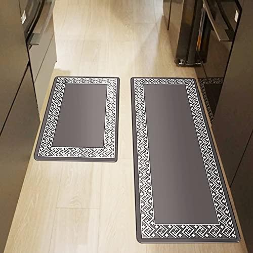 Iycnkok Alfombra Cocina Antideslizante Antifatiga PVC Kitchen Mat Impermeable Gris Resistente Manchas 44x75 cm/ 44x120 cm, Tapete para Pasillo Corredor Escritorio de Pie, Versión Gruesa