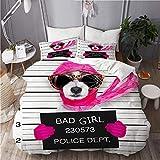 QINCO Juego de Ropa de Cama con Funda de edredón, Diva Lady Girl Dog posando para una Hermosa Foto policial, como Criminal y ladrón con Gafas de Sol rotas y Bufanda,240x260