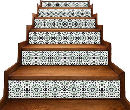 Peler et coller - décalcomanies de contremarche d'escalier - Casablanca Marocain Vert - 5 pièces (Toute taille personnalisée)