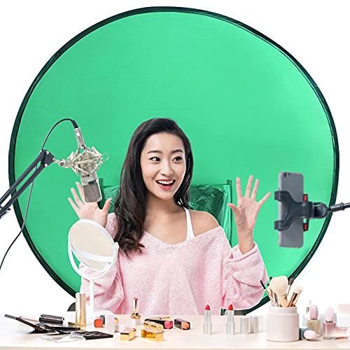 Portable Green Screen Chair Background 4.65Ft Collapsible Photography Webcam Background, 56'/142cm Zoom Webcam Chair Green Screen Background for Live Broadcast,Conferencing Photography,Video Studio