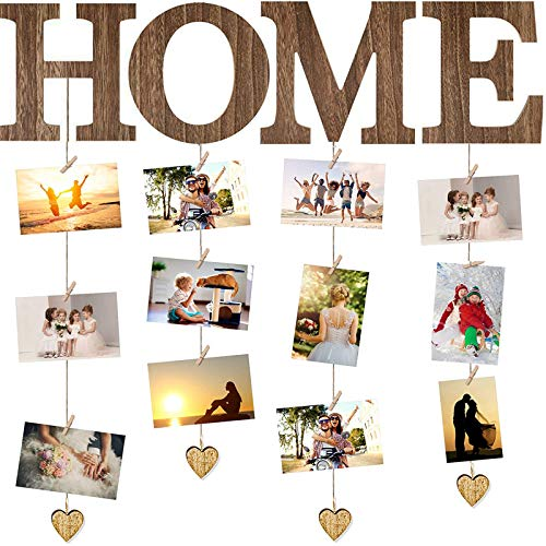 Marcos Colgante de Cuadros de Madera Exhibición de Fotos de Collage con 10 Clips, Marco de Fotos Colgante Tablero Exhibición de Fotos de Home Organizador Fotos Familiares para Pared Hogar