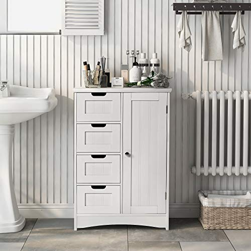 YSINOBEAR Sideboard Badezimmerschrank, Badschrank aus Holz Beistellschrank Kommode mit 4 Schubladen, Schranktür, verstellbare Regalebene, Wohnzimmer, Küche, Flur, tief, freistehend, weiß