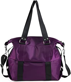 Woman Fashion Handbag, Travel Luggage Bag, Foldable Duffle Bag, Sports Gym Bag, Adjustable Shoulder Strap, Overnight Camping (Color : Purple)