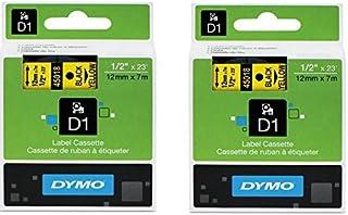 DYMO 45018 D1 盒 Dymo Label Makers 专门为您的 LabelManager 和 LabelWriter Duo Label Maker 制作而成,1.27 cm x 58.42 cm,黄色黑色,2 包