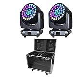 2Pcs DJライト+1個フライトケース、IMRELAXステージライト37x15W RGBW4in1ズーム/ウォッシュ/ビームムービングヘッドライトDJ機器 ムービングライト