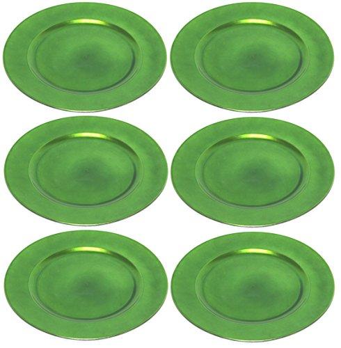 Platzteller Dekoteller Ø 33 cm grün - 6 Stück in wiederverwendbarem Kunststoff