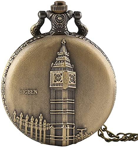 DNGDD Reloj de Bolsillo para Hombre, Reloj de Bolsillo de Cuarzo para Hombre de Bronce Antiguo Big Ben de Londres, Regalo para Hombre, Acción de Gracias