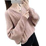 OneCherry Suéter para Mujer Summer Spring Hollow out con Cuello de Pico Transparente, para Mujer Rosa M