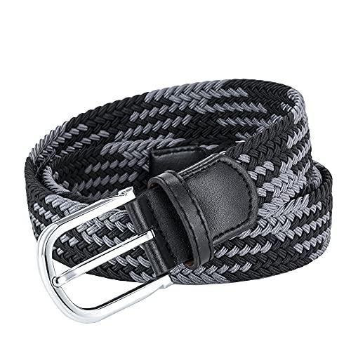 AGEA Elastic Stretch Woven Waist Belt for Men Women (31'-33', Black Gray)