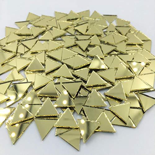 Mini-Dreieck-Spiegel-Mosaikfliesen, goldfarben, für Mosaikherstellung (120 Stück)