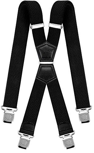 Decalen Tirantes Hombre Elásticos Ancho 40 mm con Clips Extra Fuerte Una Talla Para Todos (Negro)