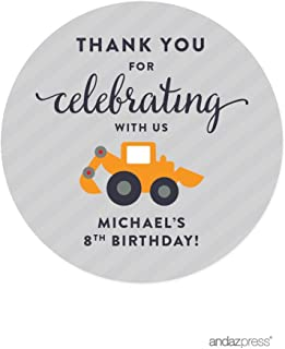 Andaz Press Personalized Birthday Round Circle Labels Stickers, Thank You for Celebrating with Us, Construction Truck Digger, 40-Pack, for Gifts and Party Favors, Custom Name