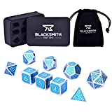 HEIMDALLR Metal DND Dice Set 9 PCS (2 Extra D6s) - Dungeons and Dragons Polyhedral Dice Set with D&D Dice Box & Bag for RPG Gaming - Includes D20 - Blacksmith Craft Dice (Guardsman Blue)