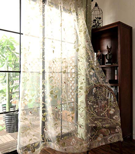 pureaqu Semi Sheer Floral Pattern Curtain Draperies Vintage Flower Birds Print Rod Pocket Voile Tulle Window Curtain Panels for Sliding Patio Glass Door Extra Wide Curtain 1 Panel W114 x H84 Inch
