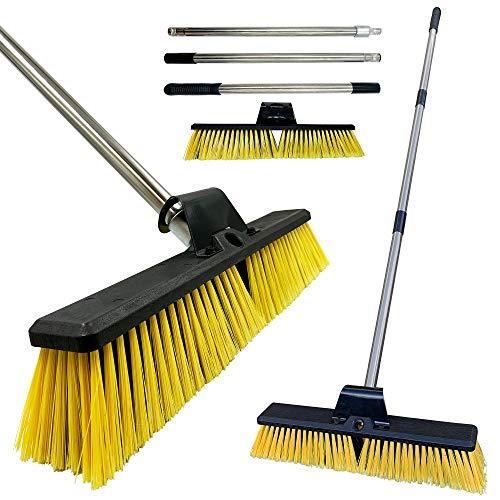 Heavy Duty Garden Broom Outdoor 18' Stiff Hard Brush & Metal Handle for Sweeping Your Yard, Garden &...