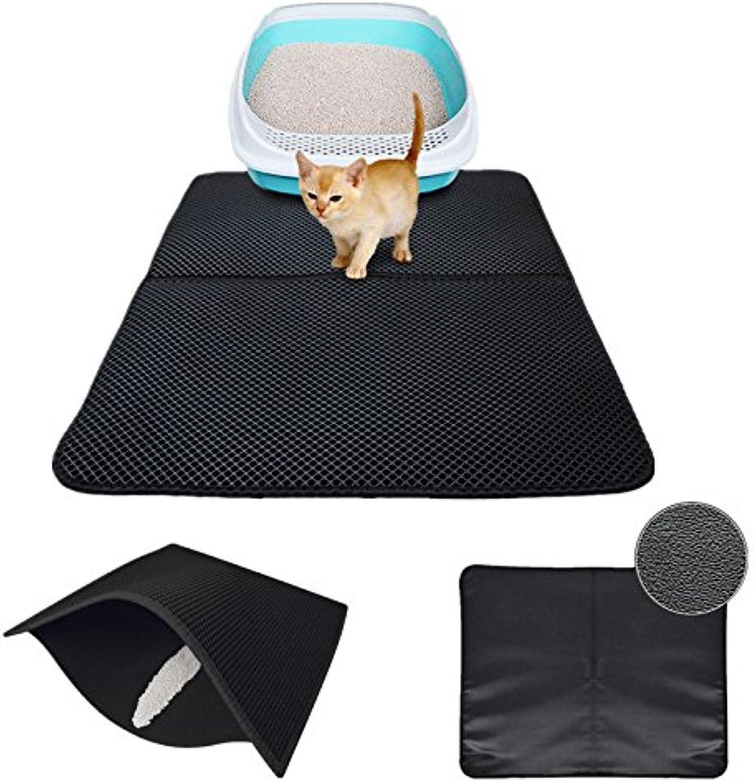 FidgetFidget Durable Black Hole Cat Litter Mat DualStructure Litter Folded Mat Waterproof M 70  55cm
