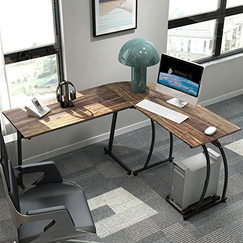 L Shaped Desk DEWEL L Desk Corner Computer Desk 59'' X 51'' L-Shaped Executive Desk Home Office Desk Study Writing Workstation Laptop Table with CPU Stand Home Office