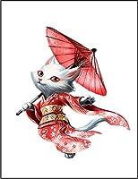 【FOX REPUBLIC】【ネコ 猫 着物】 白マット紙(フレーム無し)A2サイズ