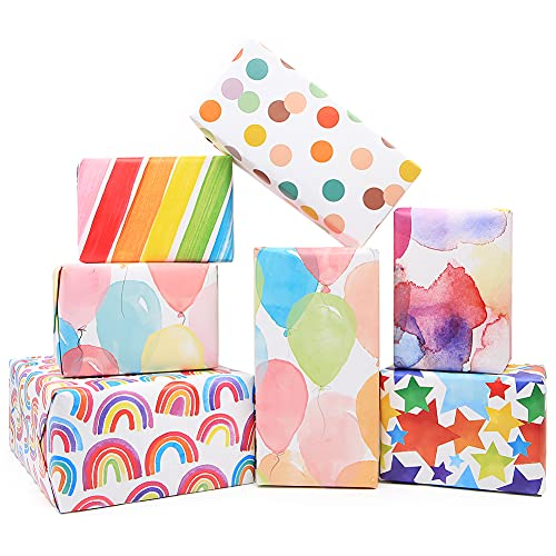 Gift Wrapping Paper Birthday,Rainbow Pink Folded Gift Wrap Set 20 x 28 inches per sheet (12 sheets: 47 sq. ft. ttl.) W/String and Sticker for Bridal Baby Shower Wedding Graduation and More