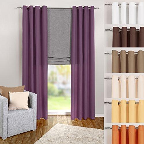 heimtexland ® Ösenschal Vorhang in lila uni blickdicht aber lichtdurchlässig HxB 245x140 cm - Dekoschal Microfaser mit wunderschön leichtem Fall - Gardine violett Typ117