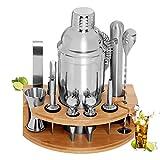 GARDOM Shaker per Cocktail 750ml, Kit Cocktail Professionale Completo 12 Pezzi,Kit Barman in Acciaio Inossidabile con Supporto in Bambù, Regalo Perfetto per Ragazzo,Amici,Famiglie