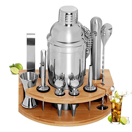 GARDOM Shaker per Cocktail 750ml, Kit Cocktail Professionale Completo 12 Pezzi,Kit Barman in Acciaio Inossidabile con Supporto in bambù, Regalo Perfetto per Ragazzo,Amici,Famiglie (750ml)